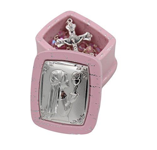 Christian Living First Communion Pink Bead Rosary with Pink Box - Girl
