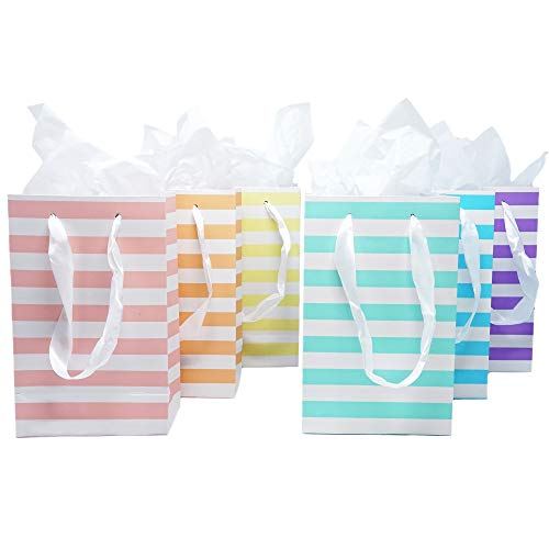 Paper Favor Gift Bags for All Events & Parties w/Satin Ribbon Handles + Decorative Tissue Paper, 12 Count (Unicorn Pastel Mix)