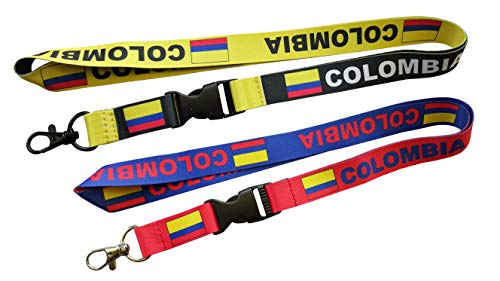 Reversible Lanyard - Colombia Flag Reversible Lanyard Keychain with Quick Release Snap Buckle and Metal Clasp - ID Lanyard for Keys, Badges, USB - ID Holder Keychain for Women, Men, Kids (Red/Blue and Black/Yellow) 2-Pack
