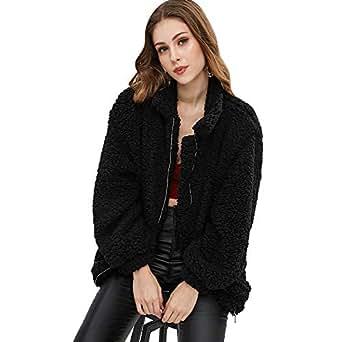 CharMma Women's Faux Fur Zip Up Long Sleeve Slip Pockets Cozy Fit Jacket (Black, S)