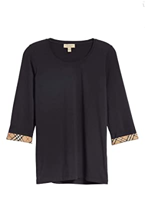 c03d50d4842a BURBERRY Women s LOHIT 3 4 Sleeves Check Trim Cuffs Stretch Tee in Black