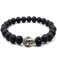 garved gems and handicarft Black Lava Stone Reiki Yoga Meditation Buddha Bracelet for Men and Women