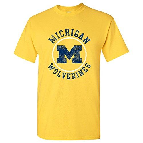 Michigan Wolverines Distressed Circle Logo Mens T-Shirt - 2X-Large - Maize -