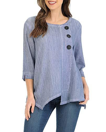 Crinkle Top Shirt - Focus Fashion Women's Cotton Crinkle Gauze Tunic-CG102 (Large, SD-Stone Blue)