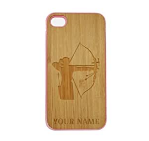 SudysAccessories Personalized Customized Custom Archery Woman On Wood Engraved Pink iPhone 4 Case - For iPhone 4 4S 4G - Designer Real Bamboo Back Case Verizon AT&T Sprint(Send us an Amazon email after purchase with your choice of NAME) hjbrhga1544