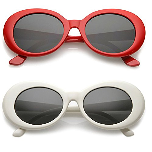 Alien Oval Sunglasses Classic Colorful Neutral Colored Lens 2PC (Red/White, 2.0)