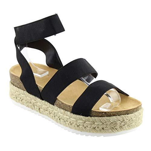 Nature Breeze FQ83 Women's Elastic Strappy Lug Sole Platform Sandals,Black,8