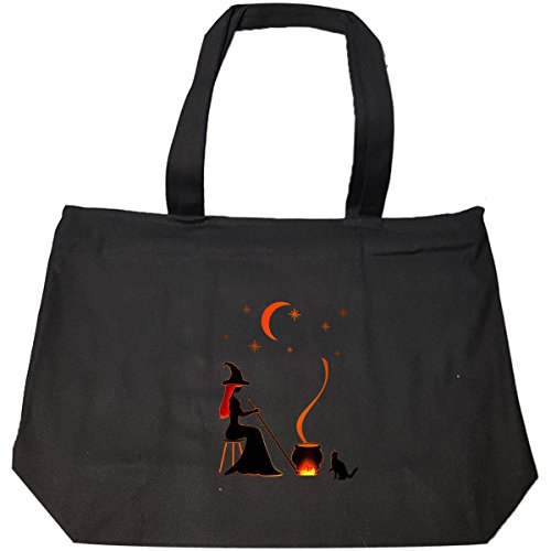 Witch Cauldron Handbag (Halloween Witch And Cauldron Design Ttd1 - Tote Bag With Zip)