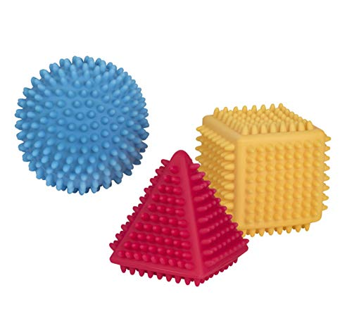 Playkidz Super Durable 3 Pack Soft and Chunky Stress Relief Sensory Balls with Different Shapes for Babies and Toddlers.