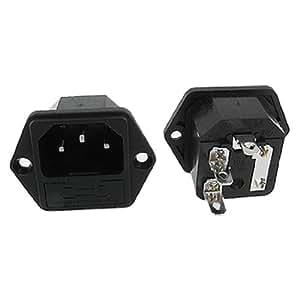 5 Piezas IEC C14 Bujía AC Potencia Admisión Panel Conectores w Fusible Soportes
