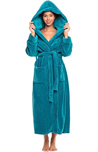 Alexander Del Rossa Women's Plush Fleece Robe With Hood Warm Bathrobe