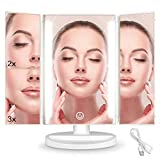 Led Makeup Vanity Mirror with 36 LED Lights, Lighted Mirror Tri-fold 2x 3x Magnifying with Touch Screen Cosmetic Mirror, 180 Degrees Rotation,Dual Power Supply