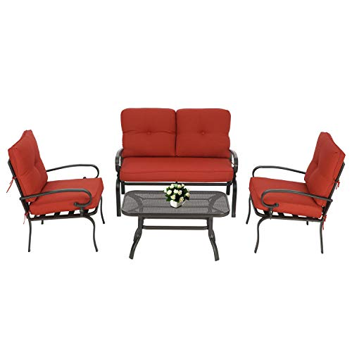 Oakmont Outdoor Furniture Patio Conversation Set Loveseat, 2 Chairs, Coffee Table with Cushion,  ...