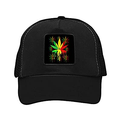 RedRoo Marijuana Leaf Rasta Colors 3D Print Baseball Caps Adjustable Snapback Trucker Hat for Men & Women