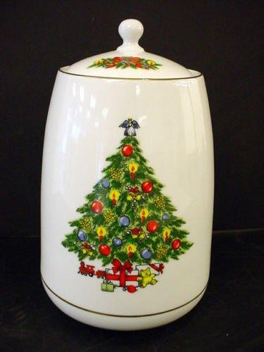 Christmas Treasure Fine Porcelain Canister Cookie Jar With 24 Karat Gold Trim