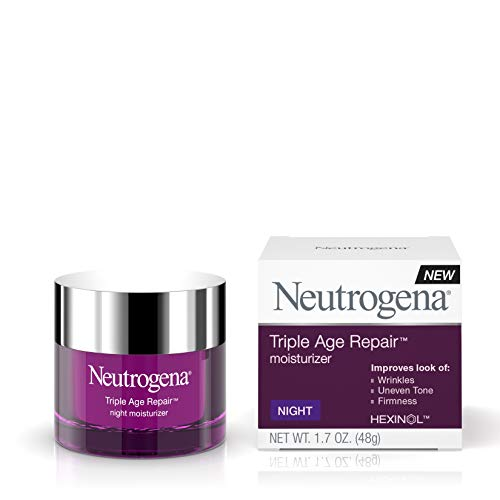 410yJvIXQPL - Neutrogena Triple Age Repair Anti-Aging Night Face Cream with Vitamin C to Fight Wrinkles & Even Tone, Dark Spot Remover & Firming Face & Neck Cream with Glycerin & Shea Butter, 1.7 oz