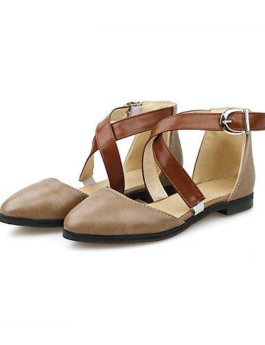 5 boda Toe al beige 5 negro beige comodidad cn33 Flats de us4 zapatos aire uk2 eu34 mujer señaló marrón 4 2 talón casual vestido PDX de plano libre nABvWxqx