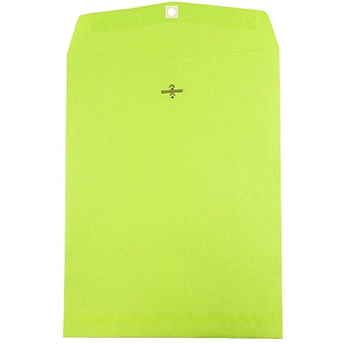 "JAM Paper 10"" x 13"" Open End Catalog Envelope with Clasp Closure - Ultra Lime Green - 10/pack"