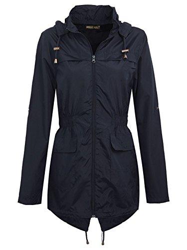 Plus Size Jacket 24 New Parka Fishtail Contrast Raincoats Zip Selfie Plain Womens Navy 18 Waterproof Click Iwfatq