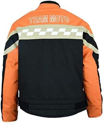 Veste-Blouson Enfant Moto 8 Ans Orange et Noir