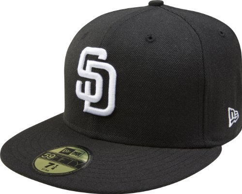 (MLB San Diego Padres Black with White 59FIFTY Fitted Cap, 7 1/4)