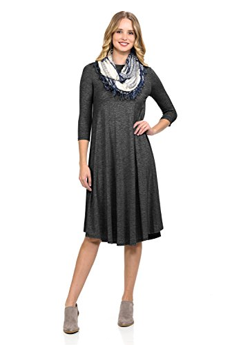 iconic luxe Women's A-Line Swing Trapeze Midi Dress Small Charcoal