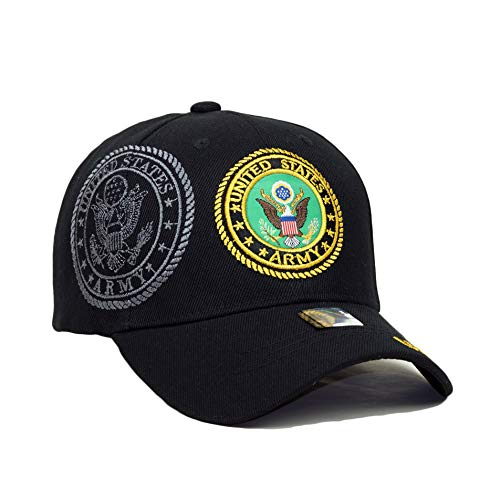 (Army Veteran Official Licensed Embroidery Hat Adjustable Military Retired Baseball Cap (Army Veteran- Black)