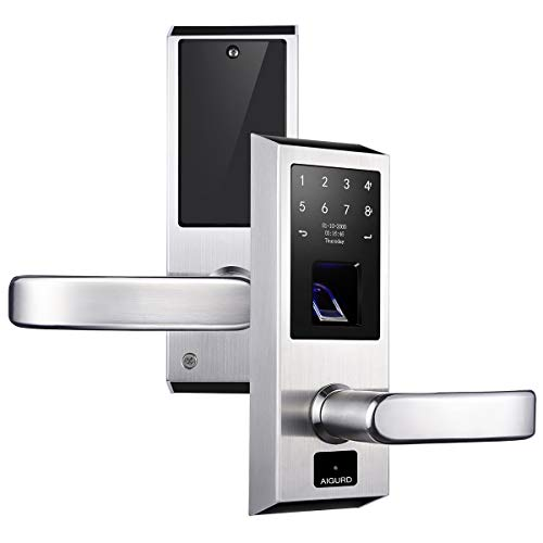 AIGURD Fingerprint Door Lock Open Modes Switch OLED Panel Operation Biometric Technology Perfect for Home Office-Silver, Right Handed