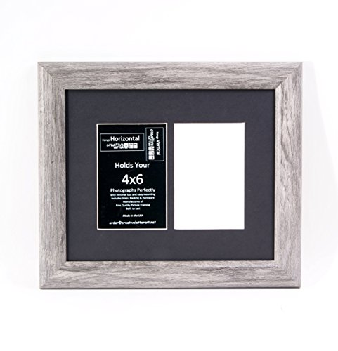 Creative Letter Art 2 Opening Driftwood Like Picture Frame with Glass to hold 4 by 6 Photographs including 10 by 12 inch Black Mat - Frames Glasses Names