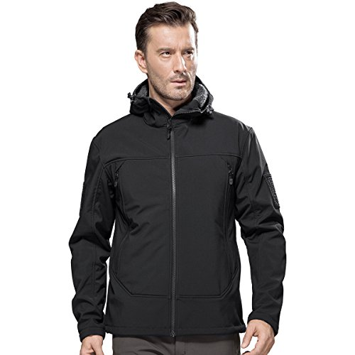 FREE SOLDIER Men's Tactical Jacket Outdoor Fleece Lining Softshell Jacket for Hiking (Black, L) (Casual Business Hat)