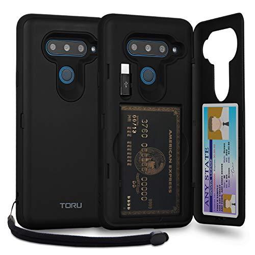 TORU CX PRO LG V40 ThinQ Wallet Case Black with Hidden Credit Card Holder ID Slot Hard Cover, Strap, Mirror & USB Adapter for LG V40 / LG V40 ThinQ (2018) - Matte Black
