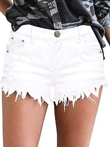 Govc Womens Jean Shorts Mid-Rise Frayed Raw Hemline Ripped Denim Short Jeans(White,XL)