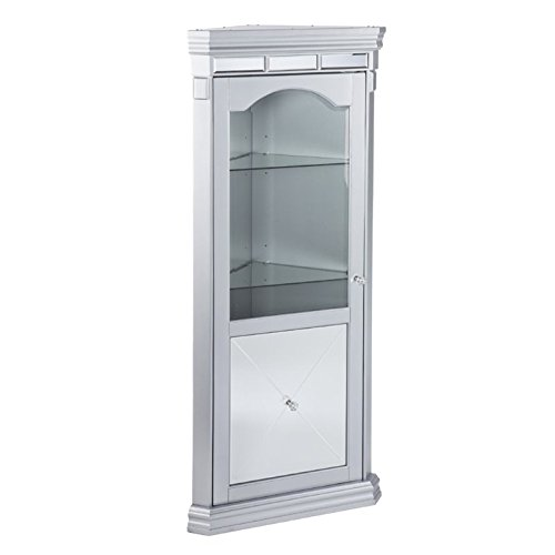 Arch Mirror Door Cabinet - Bowery Hill Corner Curio Cabinet in Matte Silver