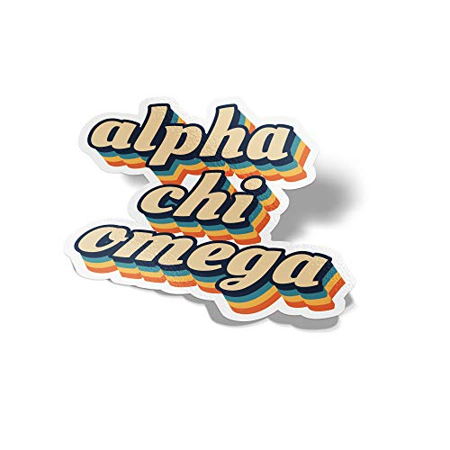 Desert Cactus Alpha Chi Omega 70's Letter Sticker Decal Greek Tall for Window Laptop Computer Car Alpha Chi AXO