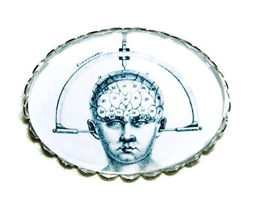 CRANIOMETER BROOCH PIN Silver Pltd with GLASS Dome VINTAGE BRAIN STUDY MACHINE PHRENOLOGY STEAMPUNK