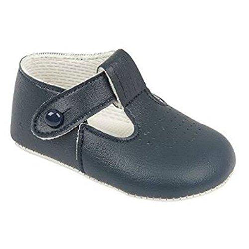 Niños bebés Zapatos T Bar cochecito con patrón de agujeros de corte - Hecho en Inglaterra por primeros días Baypods - Navy Matt