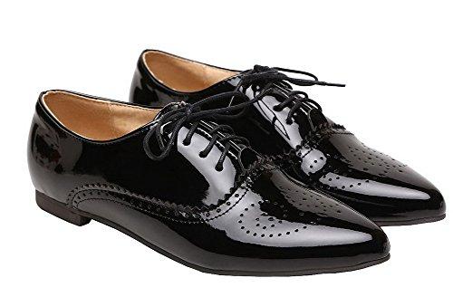 Femme Bas Couleur AgeeMi Talon Shoes Unie à Pointu Noir Verni Légeres Chaussures qESwY5Rw