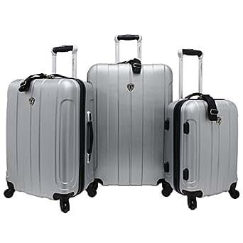 Traveler's Choice Cambridge 3 Piece HardShell Spinner Set in Silver Grey