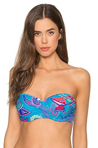 - Sunsets Women's Iconic Twist Bra Sized Bandeau Bikini Top Swimsuit, Caribbean Breeze, 34DD
