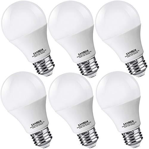 Cheap A19 LED Light Bulbs 60 Watt Equivalent, SANSUN 4000K Daylight Glow, Non-Dimmable, 6-Pack