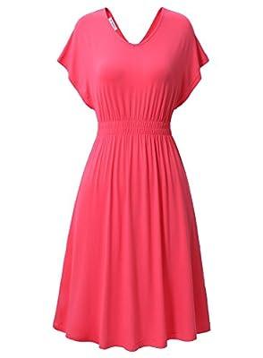 Bulotus Women Summer Causal Short Sleeve Double V Neck Cotton Flared Midi Dress