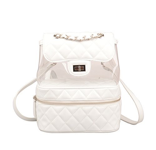 Ainifeel Women's Quilted Genuine Leather Handbags Small Casual Backpack Purse (Small, White)