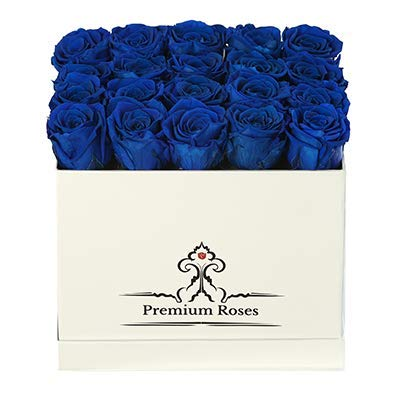 Premium Roses | Model Glossy| Real Roses That Last 365 Days | Fresh Flowers| Special Occasion, Holiday, Birthday Gift (Glossy White Box, Medium)