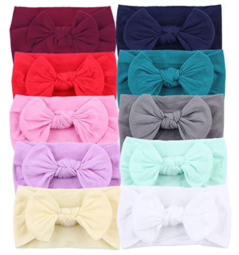 Baby Girl's Headbands Newborn Bows Soft Nylon Head Wraps for Photograph
