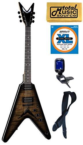 Dean VX FM CHB Flame Top Solid-Body Electric Guitar, Charcoal Burst, Bundle