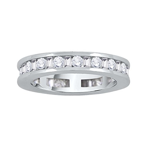Round And Baguette Cut Diamond Eternity Band In 14K Gold (1 2/3 Cttw) (GH-Color I1 Clarity)