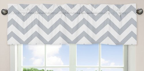 Sweet Jojo Designs Gray and White Chevron Collection Zig Zag Window Valance