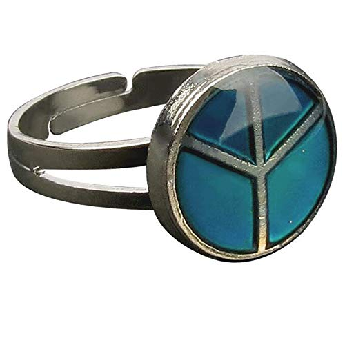 - Jude Jewelers Adjustable Color Changing Mood Ring Inspirational Mystique Marble (Peace Sign, Adjustable)