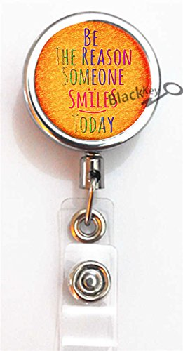 BlackKey Be the Reason Someone Smiles Today Retractable ID Card Badge Holder Reel with Lanyard & Belt Clip -1228