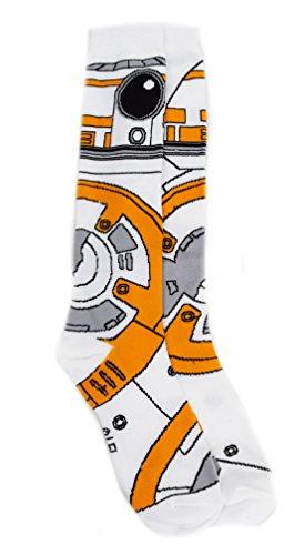 Costume Artoo (Star Wars BB-8 Costume Junior/Women's Knee High Socks, White, Shoe:)